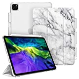 CaseBot Case for iPad Pro 11' 2020 & 2018 with Pencil Holder [Supports 2nd Gen Pencil Charging] - SlimShell Lightweight Stand with Translucent Frosted Back Cover, Auto Wake/Sleep, Marble White