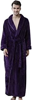YiyiLai Men Soft Winter Bathrobe Belt Full Length Lounge Towel Dressing Gown