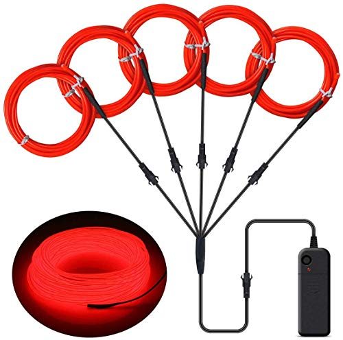 ILEBYGO EL Wire Neon Lights Kit with Portable AA Battery Inverter for Halloween Christmas Party Decoration (5 Pack, Each of 3.28ft, Red, Battery not Included)