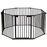 Costzon Baby Safety Gate, 8-Panel Fireplace Fence, Foldable Baby Play Yard for Easy with Add/Decrease Panels, Portable Wide Barrier Gate with Multiple Shapes for Child & Pet (Black, 8-Panel)