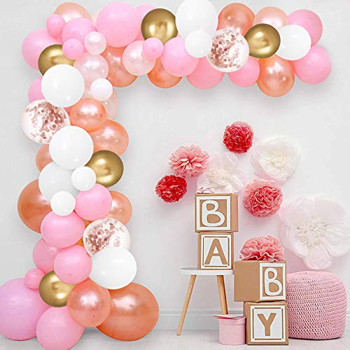 Globos de Oro Rosa, 100 Globos de Látex de Confeti de Oro Blanco y Rosa con Cinta y Pegamento de Lunares para Decoraciones de Bodas y Cumpleaños