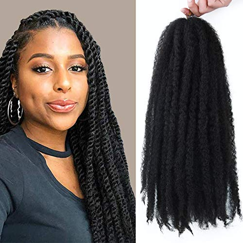 GX Beauty Marley Twist Braiding Hair Synthetic Afro Twist Braid Hair 3Packs Kinkys Hair for Braiding 18Inch 100g/Pcs (#1B)