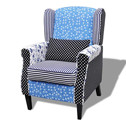 mewmewcat Sillón de Salón Diseño Retales Patchwork Estampado Azul Blanco Asiento 68 x 73 x 101 cm