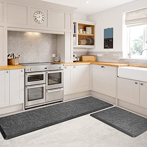 KMAT 2PCS Kitchen Mat Cushioned Anti-Fatigue Floor Mat,Waterproof Non-Slip Standing Mat,Ergonomic Comfort Floor Mat Rug for Home,Office,Sink,Laundry,Desk(17.3'x28'+17.3'x60',Grey)