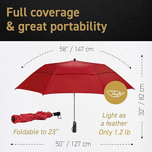 EEZ-Y Golf Umbrella - 58 Inch Windproof Rain Umbrellas w/Double Canopy - Compact, Portable & Break Resistant for Travel –UV Protection Black