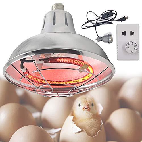DBZDM Lampe Infrarouge Chauffante avec Thermostat pour Chiots/Tortue/volaille, 220V/400W Lampe Chauffante Poussin Multifonction pour Élevage/Agriculture