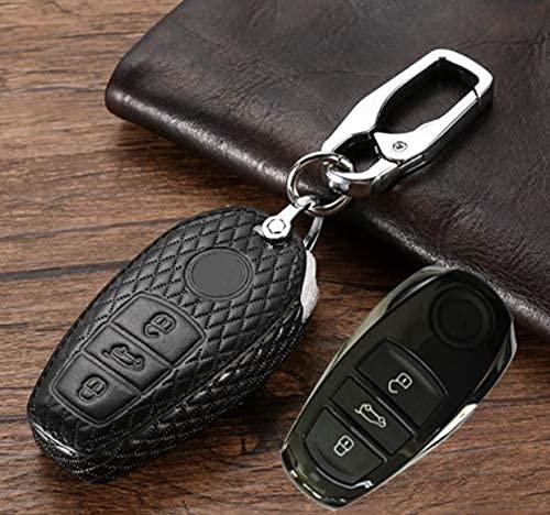 KCGNBQING Cartera del Titular de la Cubierta de la Llave del Cuero Genuino del Coche para Volkswagen VW Touareg 3 Botones Fob Smart Clave Accesorios Carcasa de Llave (Size : Black)