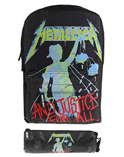 Rock Sax Metallica Gerechtigkeit für alle schwarzen Rucksack und Federmäppchen