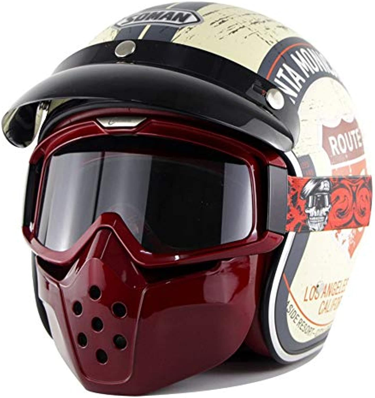 Motorradhelm, Retro Motorradhelm Harley Knight Helm prsentiert Haimaske Goggles DOT-Zertifizierung ABS-Material (Farbe   B, Größe   M)