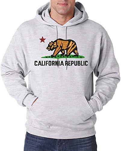 Urban Kingz Bestickter Herren Hoodie Kapuzenpullover California Republic Stick Logo, Grau, Gr. L