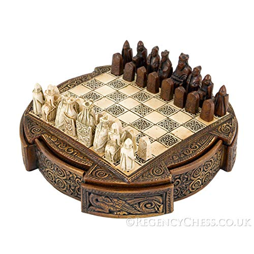 Isle Of Lewis Compact Celtic Chess Set 9 Inches by The Regency Chess Company...