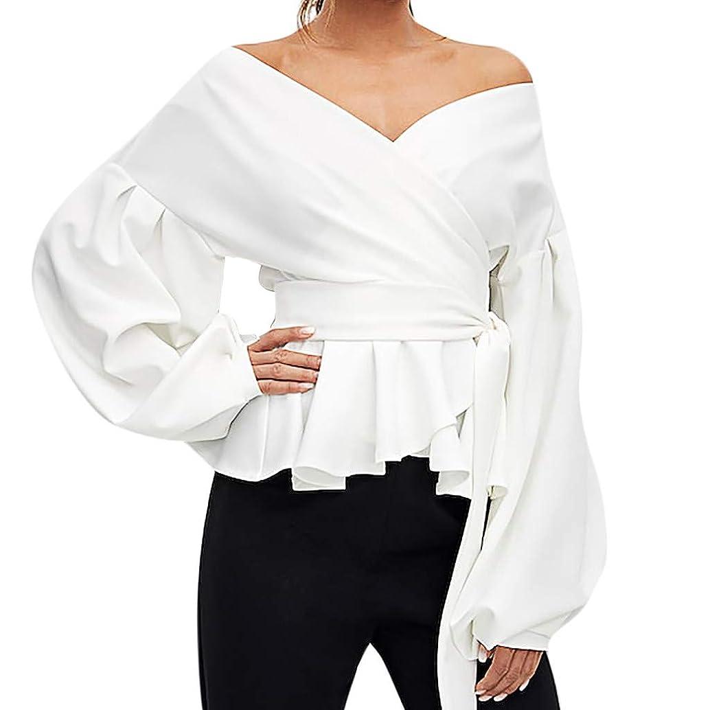 ManxiVoo Women's V Neck Self Tie Lantern Sleeve Wrap Blouse Off Shoulder Top Shirt