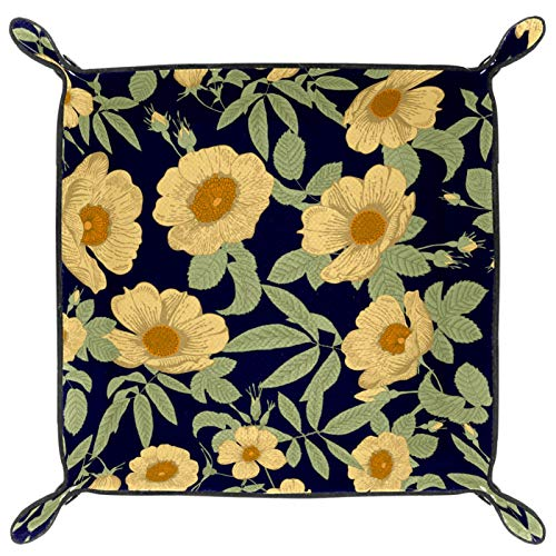 XJJ&USC Leather Rubber Finger Scraper Mat Valet Tray Storage Tray Cosmetic Stationery Organizer Catch-All for Keys, Phone, Wallet, Coin, Jewelry and More Beautiful Yellow Flowers
