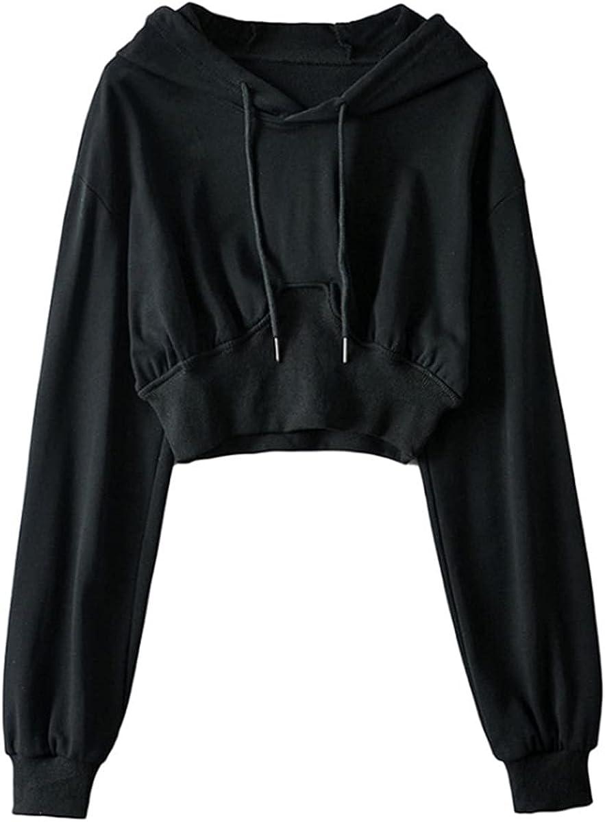 Women's Long Sleeve Sweatshirt Waist Drawstring Short Top High Waist Hoodie