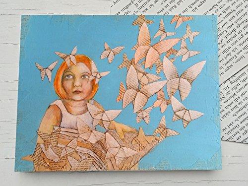 Für Bücherwürmer, Glückwunschkarte Origami Schmetterlinge, ein Mädchen liest ein Buch, Buchseiten, Schmetterling, Geschenk Karte für Mädchen, Leseratte, Buchgutschein