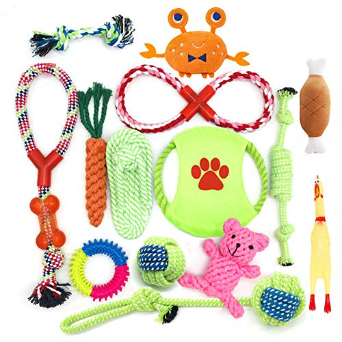 HEPAZ Juguetes para Perro Juguetes para Masticar Cuerda de algodón100% Natural Juguetes para chirridos Bolas de Perro Huesos de Perro Cuerdas para Perro 14unidades Juego de Regalo