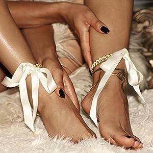 Kercisbeauty, cavigliera dorata con nastrino, vintage, perfette per l'estate e con i tacchi alti