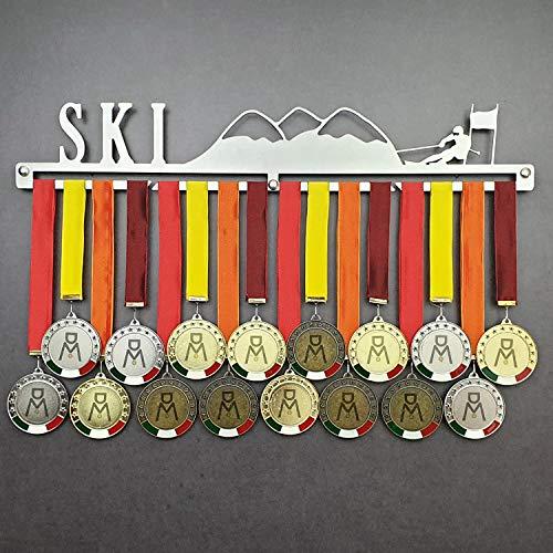 SKI - Colgador de medallas Deportivas - Medallero de Pared Esquiador, Esquí - Sport Medal Hanger - Display Rack (600 mm x 100 mm x 3 mm)