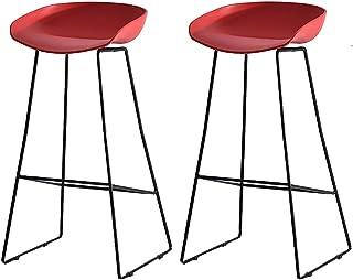 NMDB Chaise Bar Moderne Minimaliste Boutique telephone Mobile Tabouret Bar Chaise Bar Mode creatif Tabouret Bar Fer forge  47 73cm 83cm   Couleur Red