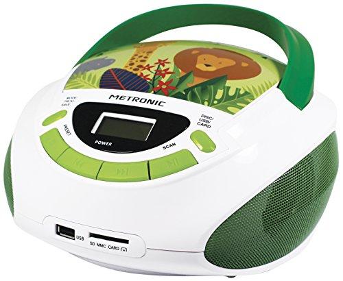 Metronic 477144 - Radio Lector Reproductor de CD portátil con Toma USB/SD para MP3 / AUX Jack 3,5mm, Radio FM, 3W, Jungle Blanco/Verde