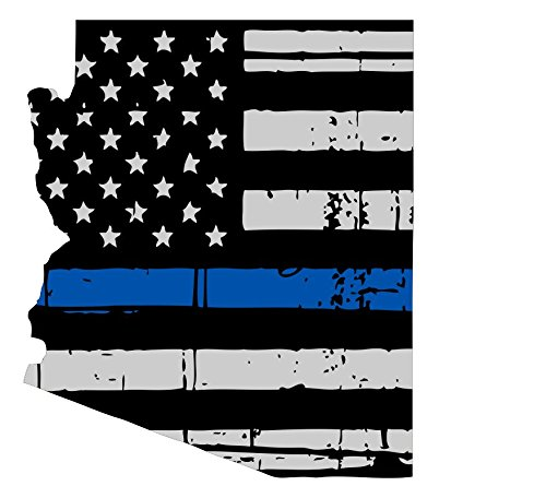 Arizona Tattered Thin Blue line us Flag Honoring Our Men & Women of Law Enforcement car Symbol Sticker Decal die Cut Vinyl Window Computer - Made and Shipped in USA