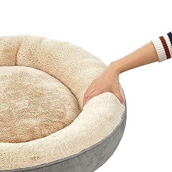 FEANDREA Panier pour Chien Rond, Lit Chat Donuts, ø 70 cm, Gris Clair PGW070G01