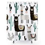 Homewelle Cartoon Alpaka-Duschvorhang Lustige Kinder Tier-Kaktus-Llama wasserdicht 60 B x 183 L Zoll Südamerika Pflanze Kinder 12 Stück Kunststoff Duschhaken Polyester Stoff Bad Badewanne