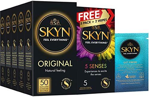 SKYN Kondome ohne Latex, 5 x 10 x 50 Stück, inkl. 5 x 5 Sinnen, gratis 2 Tücher