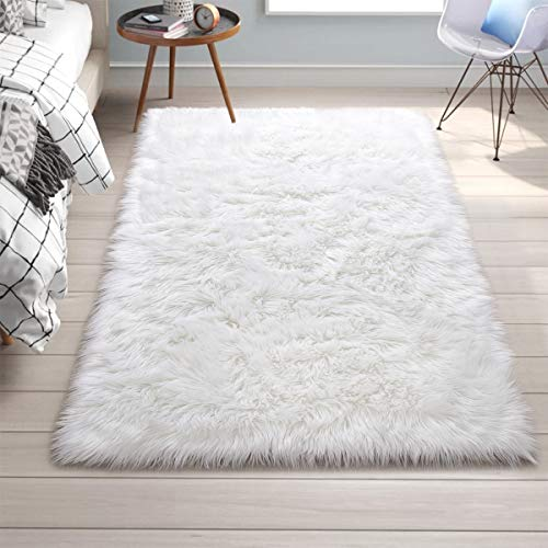 "Rectangle Large Faux Sheepskin Area Rug Luxury White Faux Fur Carpet for Home Decorative Accent Floor Living Room, Plush Shaggy Furry Bedside Fluffy Bedroom Rugs for Girls Princess Nursery Room 4""x6"""