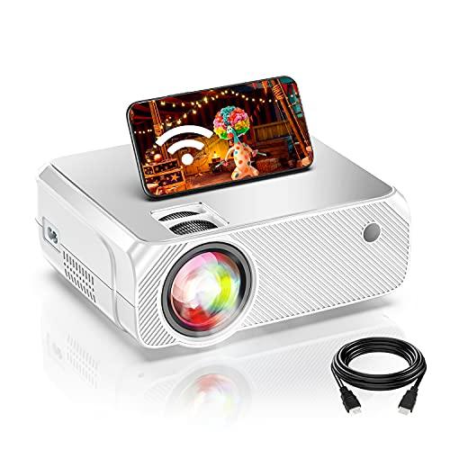 Proiettore Wifi, Supporta 1080P Nativo Full HD, Luminosità 6500, Proiettore Portatile Wifi, 300 Intch, Supporta Android iOS Fire Stick PS4, Home Theater