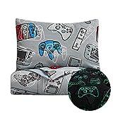 Kids Rule 2 Piece Gamer Glow in The Dark Comforter Set, Game Controllers Print, Blue, Grey - Twin