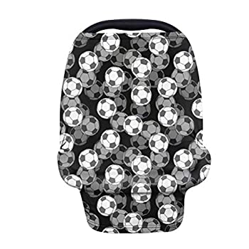 ORGYPET Soccer Pattern Stretchy Car Seat Covers for Babies Black Nursing Cover for Breastfeeding Nursing Scarf Carseat Canopy Breastfeed Cover for Boys or Girls During Summer or Winter