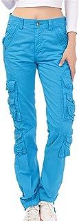 Pantaloni Dritti da Donna - Multi Tasche Pantalone Carico Pantaloni Lunghi Sciolti Colore Puro metà della Vita Casuale Pan...