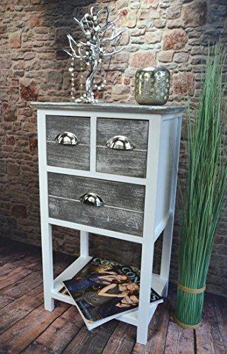 Livitat® Kommode Telefontisch mit Schubladen Landhaus Chic Used Look Vintage 70 cm Höhe LV1027 (Grau)