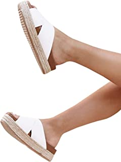 c9241506469b Women s Platform Espadrilles Criss Cross Slide-on Open Toe Faux Leather  Studded Summer Sandals