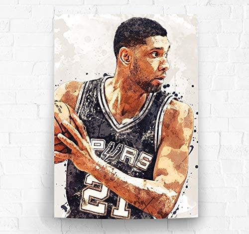 Tim Duncan San Antonio Spurs Poster/Canvas Print - Basketball Artwork - Kids Room Wall Decor - Man Cave - Sports Decor - Birthday Gift Idea (Premium Poster, 24 x 36 Inches) image