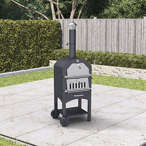 BillyOh Smoker BBQ Outdoor Pizza Oven Charcoal Grill Barbecue Black 50x156x37cm