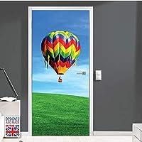 印刷物ドアステッカーDIYカラフルな熱気球装飾壁画防水画像粘着性の新しい家の装飾寝室* 95x215