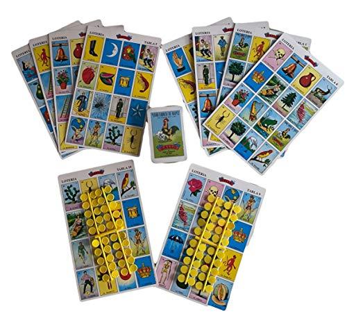 Lotería Mexicana Mediana 10 Tablas o Cartas, Fichas Incluidas (21.5 X 13.5 Cms) Incluye: 80 Fichas para Marcar las Imágenes que ya Salieron - Cancionero - 54...