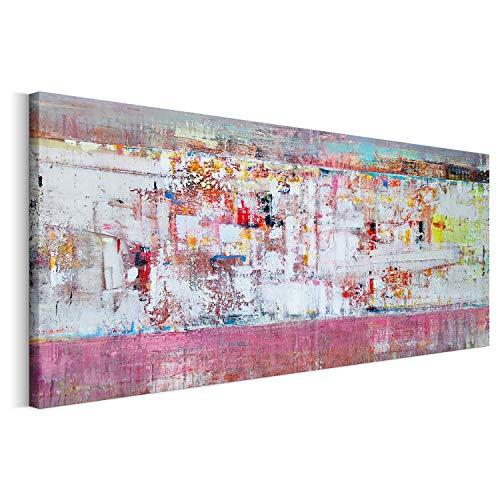 Revolio 100x50 cm Panorama Bilder Leinwandbild Wandbilder Wohnzimmer Modern Kunstdruck Design Wanddekoration Deko Bild auf Leinwand 1 Teilig - abstrakte Kunst Farben Rosa Weiß