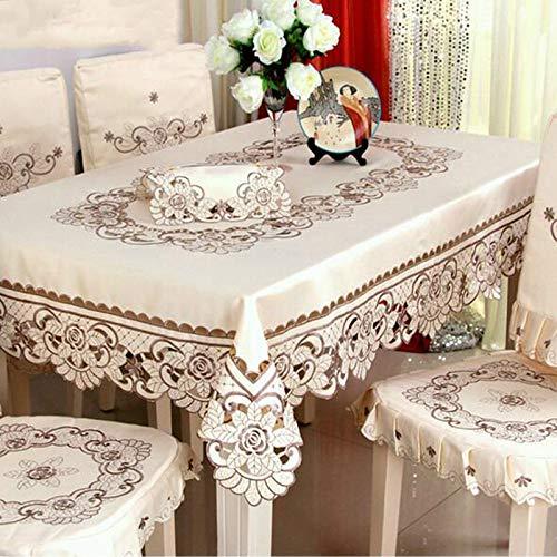 DAKEUR Home Hotel Mantel Bordado/Mantel de Flores de Boda Mantel Rectangular Mantel Redondo y Cuadrado 150x220cm