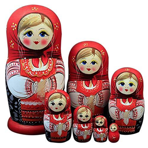 JYING Muñecas Rusas Nido, Matryoshka Set 7 muñecas Nido de Madera Hechas a Mano Matryoshka muñeca Rusa para niños Juguete Cumpleaños Navidad Año Nuevo Regalo Decoración del hogar