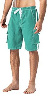 FASKUNOIE Men's Swimtrunks Quick Dry Mesh Lining Beach Swimsuit Shorts with 4 Pockets