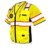 KwikSafety (Charlotte, NC) EXECUTIVE (10 Pockets) Class 3 ANSI High Visibility Reflective Safety Vest Heavy Duty Mesh with Zipper and HiVis OSHA Construction Work HiViz Men Women | Yellow Small