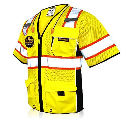 KwikSafety (Charlotte, NC) EXECUTIVE Class 3 ANSI Safety Vest OSHA High Visibility Reflective Stripes Heavy Duty Mesh Pockets and Zipper Hi-Vis Construction Work Hi-Viz Surveyor Men | Yellow Large