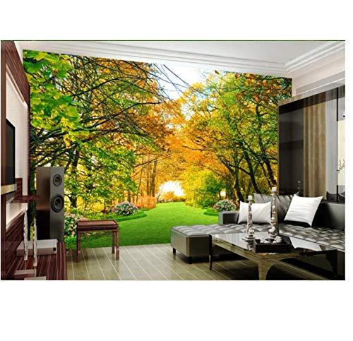 Wandbild Vlies 3D Fototapete Benutzerdefinierte Wandbild Park Woods Flower Trail Landschaft Wohnkultur Wohnzimmer 3D Wandbild Tapete Für Wände