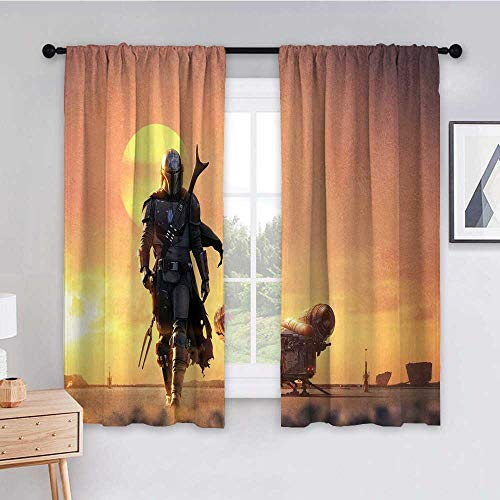 Purseroom Curtains for Sliding Glass Door 55x72 inch Star Wars The Mandalorian 2019 a9 Room Decor Blackout Shades