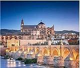 PTWJ Rompecabezas de 1000 Piezas de Rompecabezas de Madera Puente Romano clásico y la Gran Mezquita de Guadalquivir El Rompecabezas español de Córdoba es una Gran Herramienta para Explorar Ideas y pa