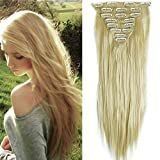 23' Extensions Cheveux Clips 8 Bandes - Extension a Clip Cheveux Lisse - Clip in Hair...