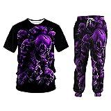 Verano 2 piezas Set púrpura cráneo terror manga corta impresión Tank Tops pantalones cortos para hombre sin mangas con capucha Tee conjunto